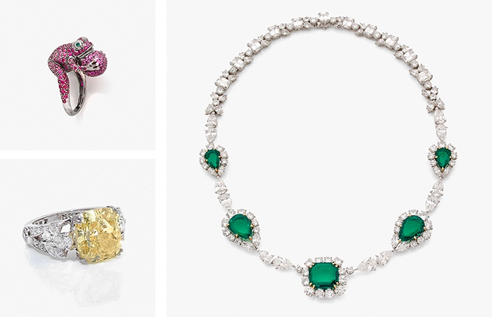 Links oben: BOUCHERON Frosch-Ring, Gold, Rubine oder rosa Saphire Links unten: GRAFF Ring, Platin, Diamant in Fancy vivid yellow und weiß Rechts: HARRY WINSTON Collier, Platin, GG, Smaragde, Diamanten, um 1985-90