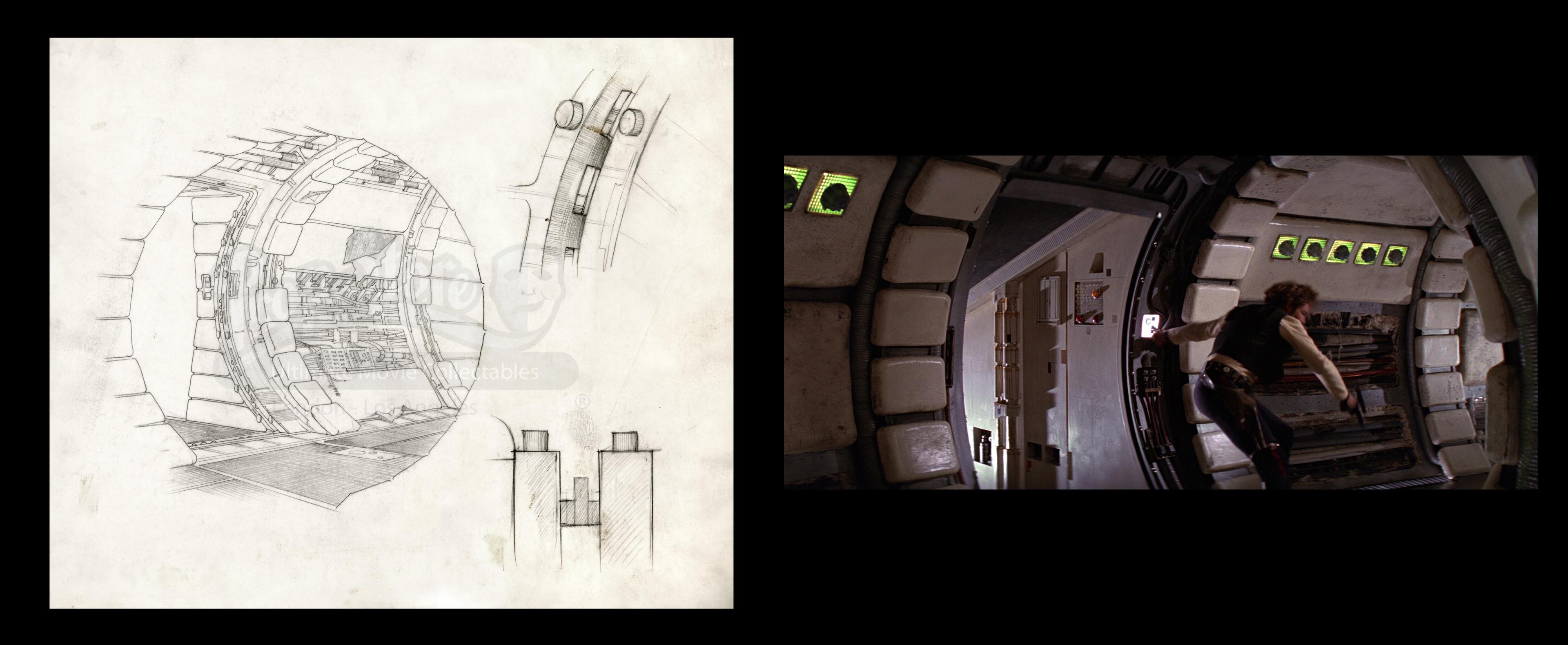 Hand-drawn Detail of the Millennium Falcon Corridor with Door Frame Mechanism. Photo: Prop Store