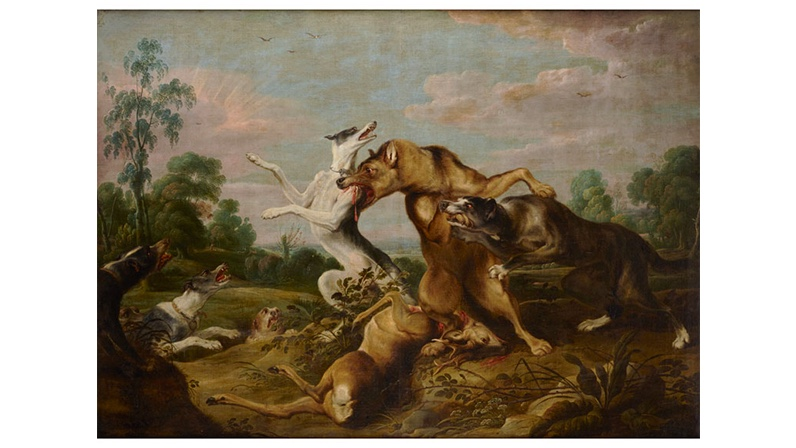FRANS SNYDERS (1579 Antwerpen 1657) - Kampf der Wölfe und Hunde, Öl/Lwd.