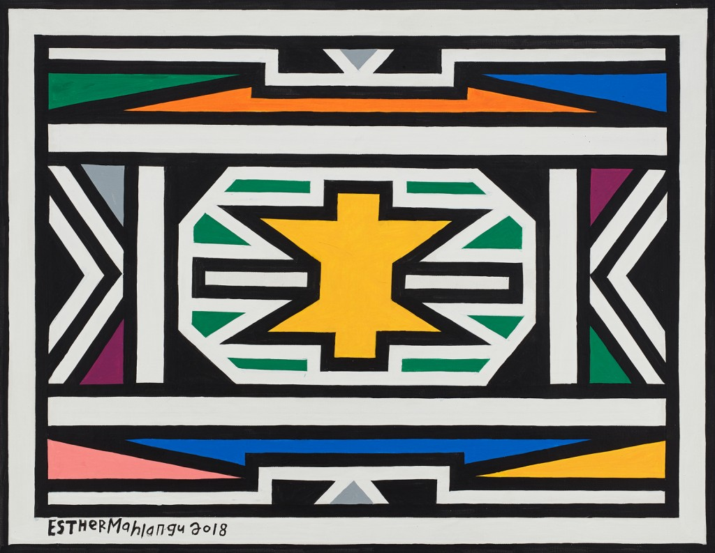 Esther Mahlangu, « Ndebele Patterns », 2018, image ©Aspire Art Auctions