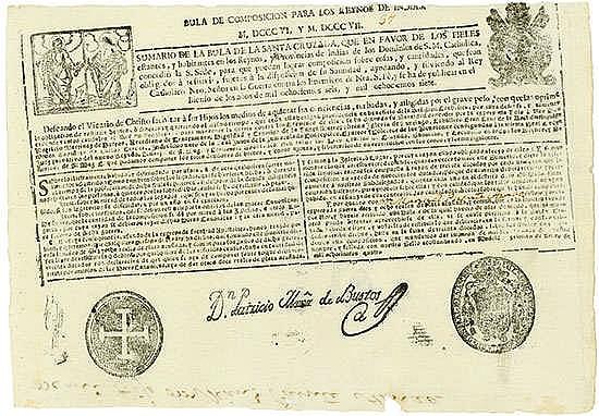 Peru, 1806, Ablassbrief über eine Ablasszahlung von 18 Reales in geprägtem Silber Schätzpreis: 450-700 EUR