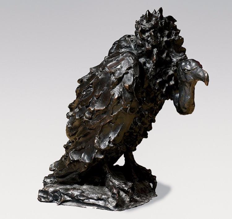 José-Maria David Vautour ailes fermées, Sculpture-volume en bronze Signée, N°2/8 Fondeur Chapon