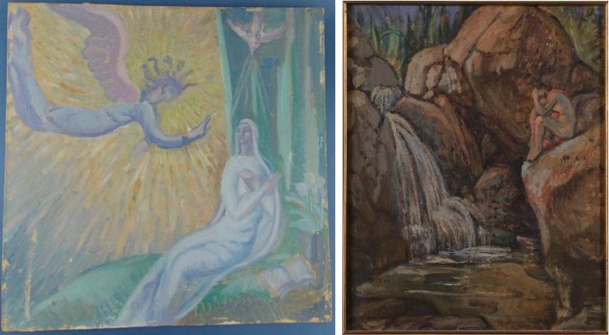 """Links: CARLOS ALBERTO CASTELLANO - """"Anunciación a la Virgen María"""", Öl/Karton Schätzpreis: 300-400 USD Rechts: CARLOS ALBERTO CASTELLANO - """"Narciso contemplándose en el reflejo del agua de una cascada"""", Öl/Karton Schätzpreis: 700-1.000 USD"""