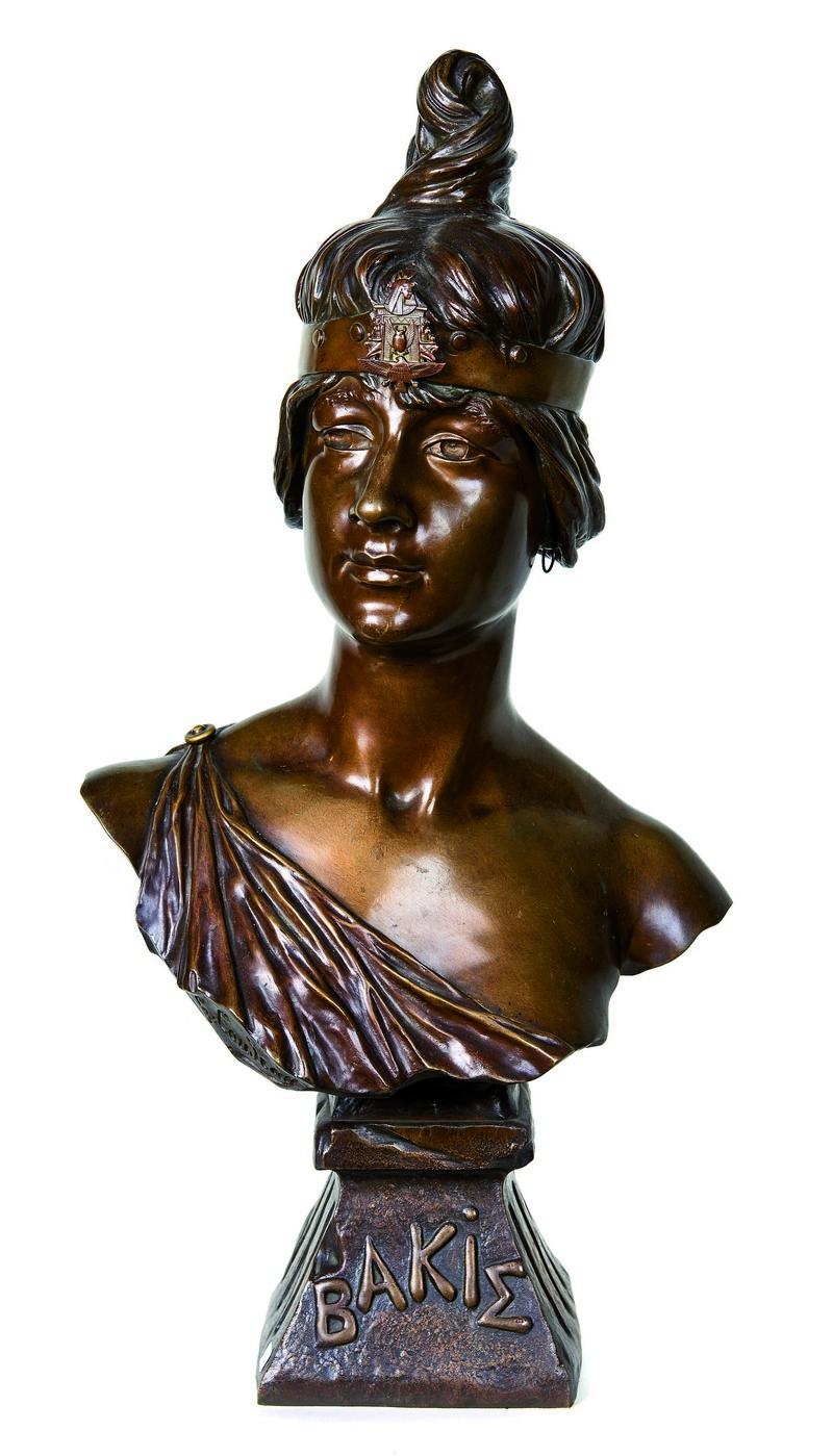 GEORGES-CHARLES COUDRAY. Bakie. Escultura Art Nouveau en bronce (s. XIX)