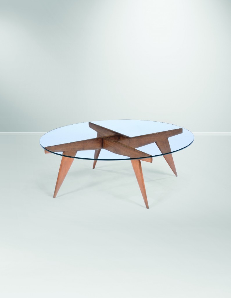 Gio Ponti - Ice table with glass top, 104x36 cm, Giordano Chiesa with Singer & Sons, Italy, circa 1950