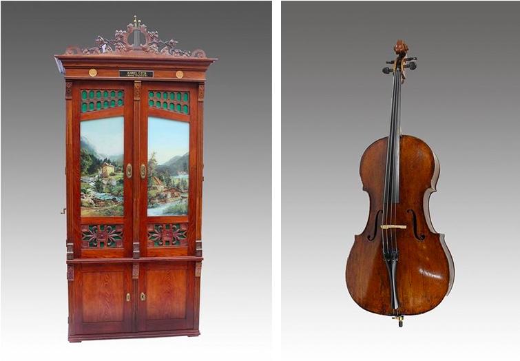 Links: Walzen-Orchestrion, um 1900 Rechts: ANDRÉA CASTAGNERI (zug.) - Cello, 18. Jh.