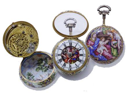 Rare montre bassine en or 750 millièmes, entièrement décorée de miniatures sur émail Expertisez.com