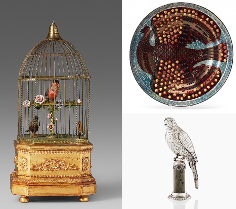 Links: Dieser mechanische Singvogelkäfig erzielte 2015 ca. 2.500 Euro. Oben: Teller von Birger Kaipiainen für Arabia. Unten: Das Schankgefäß Välkomma kostete 2017 ca. 3.900 Euro   Foto: Uppsala Auktionskammare und Bukowskis