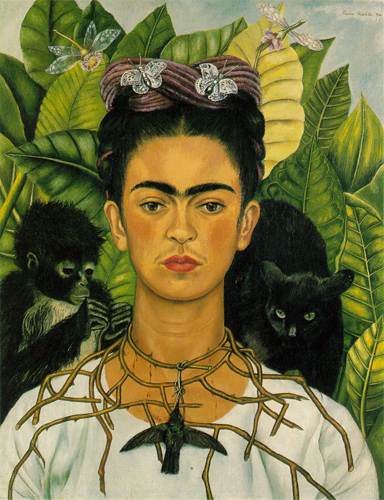 Frida Kahlo, Autoportrait au collier d'épines et au colibri, Collection Nickolas Muray, Harry Ransom Center, University of Texas, Austin Image via Wikipedia