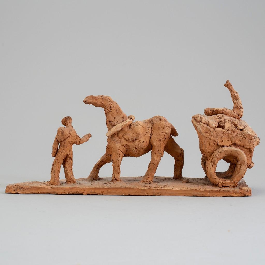 """Arle, """"Figurer med häst och vagn"""", år 1952. Foto: Bukowskis."""