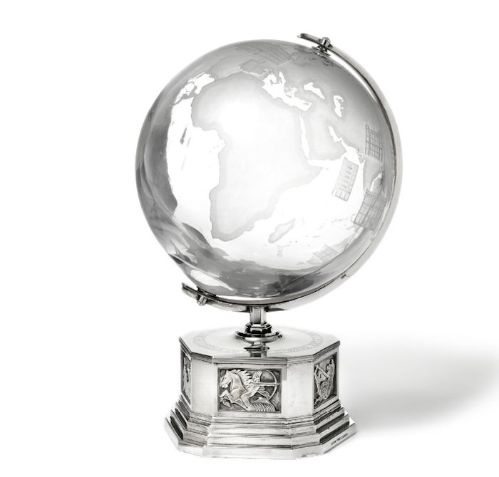 """Engraved globe: """"The earth is no bigger than it can be spared by the thought."""" / """"Thanks for generous assistance in memorable travel around 1951-1952, M. Wallenberg """"/ ("""" With gratitude for generous support on a memorable trip around the globe 1951-1952, M. Wallenberg """")"""