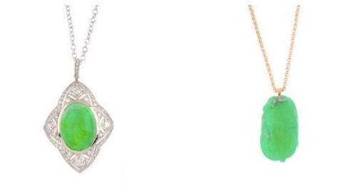 Gauche: Collier et pendentif diamant et jadeite Droite: pendentif en jade, feuille et oiseau sculpté