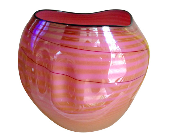 """Dale Chihuly (American, b. 1941) for Portland Press """"Coral Basket with Golden Wrap"""", 2002"""