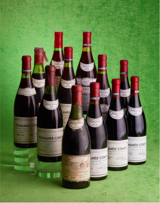 Ensemble de 12 bouteilles de Romanée-Conti allant de 1937 à 1991, image ©Baghera Wines