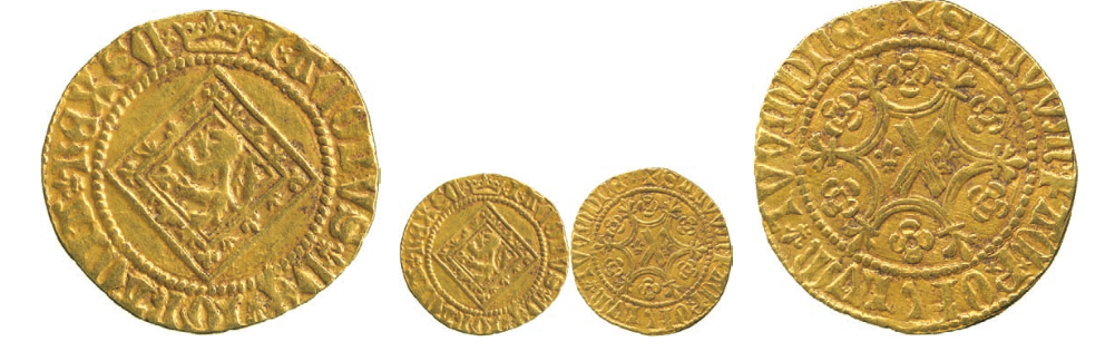 James I (1406-1437), Gold Demy of Nine-Shillings, Type II, Scottish lion rampant on lozenge, beaded circle surrounding, initial mark crown, saltire and fleur de lis stops both sides, xIxACOBVS+ DE+I GRACIA+ REX SCx, outer beaded circle surrounding both sides, rev die axis at 10 o'clock, St Andrew's Cross bearing lis either side, I at centre, within fleured tressure of six arcs, voided quatrefoils in outer arcs, beaded circle surrounding, initial mark cross pattée, saltire stops, SALVVmx FACx PxOPVLVmx TVVM DnE+, 3.22g (SCBI.35:622; S.5190). Toned, very fine, rare. £3,500