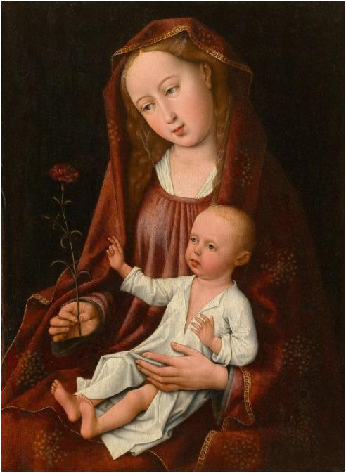Mästaren av legenden kring Maria Magdalena (aktiv ca 1483-1526 i Bryssel) - Madonna och barn, olja.