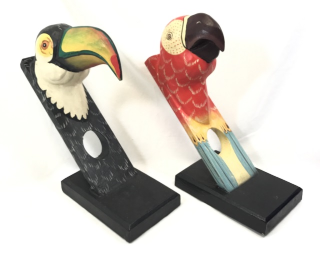 2 hand carved tropical bird wine bottle holdersAuction Kings Tampa