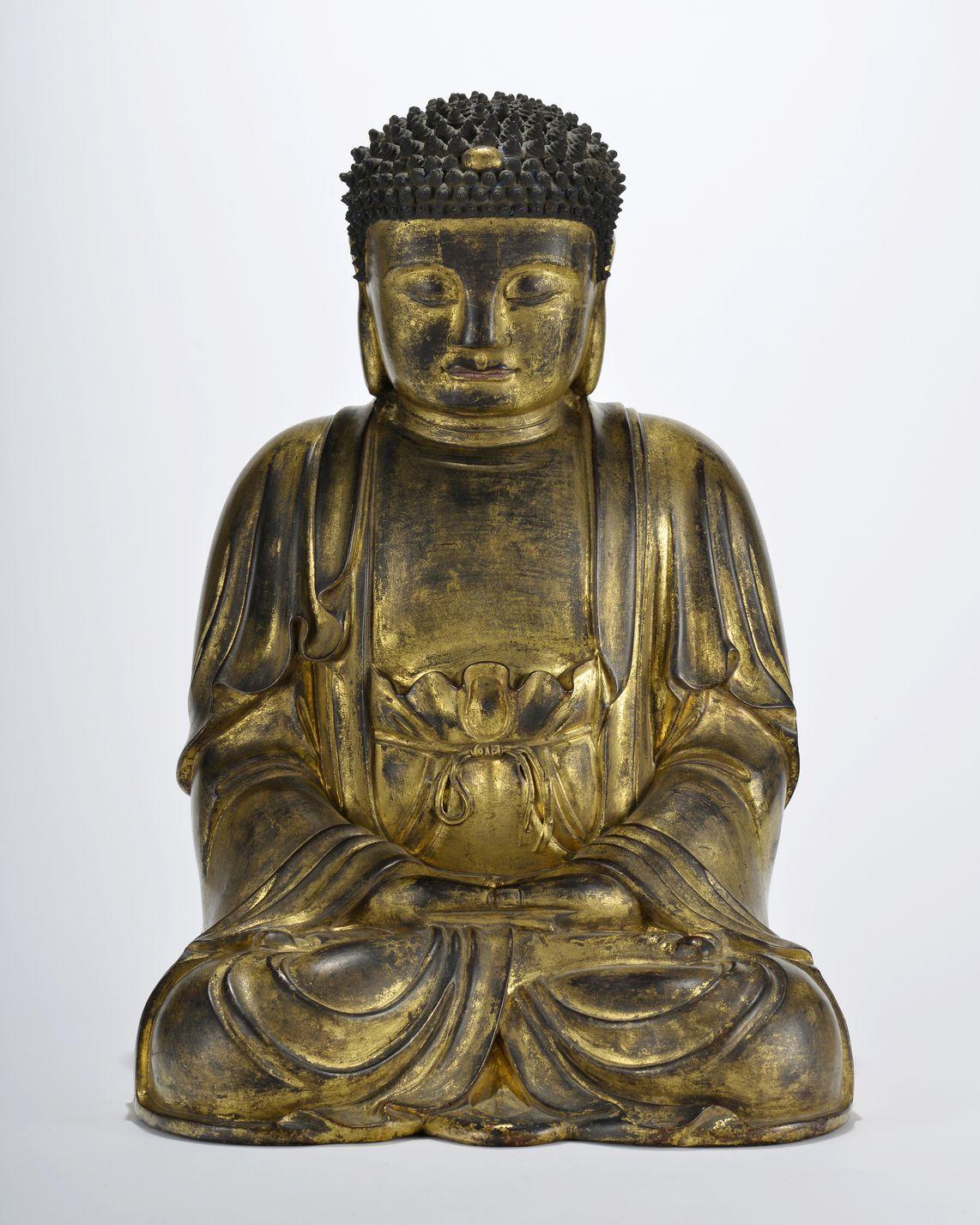Bouddha en laque sèche dorée  Chine XVIIIe s