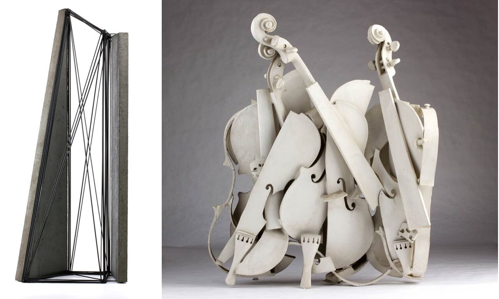 Links: GIUSEPPE UNCINI (Fabriano 1929 – Trevi 2008) - Spazi di ferro n.35, Eisen und Zement, 1989 Rechts: ARMAN FERNANDEZ (Nizza 1928 – New York 2005) - Colère blanche, Skulptur, nummeriert, 83/150, 1988