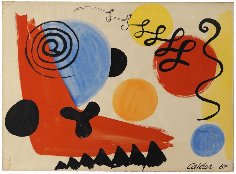 """Alexander CALDER (1898-1976) """"Composition, 67"""" Gouache signée et datée en bas à droite"""