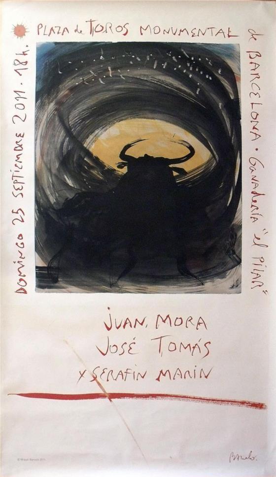 """MIQUEL BARCELÓ. Cartel litográfico """"Última corrida de toros en la Monumental"""" (2011)"""