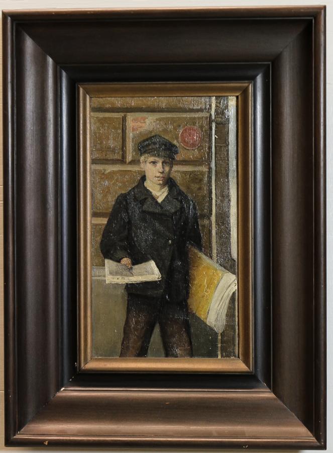 Eugène Jansson (1862-1915). Tidningspojke. Duk, 32 x 18,5 cm. Signerad Eug. Jansson. Utrop: 40.000 Sek. Auktionsbyrån Effecta