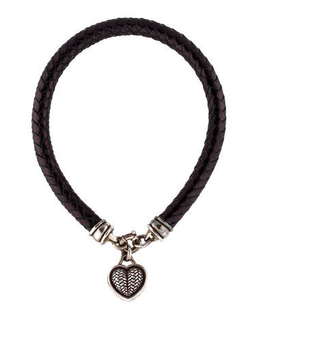 Black braided leather Barry Kieselstein-Cord choker necklace with sterling silver heart and crescent moon pendants and spring ring closure. Includes jewelry pouch.