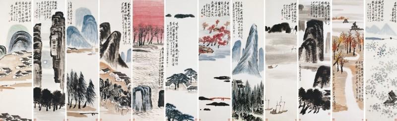 Qi Baishi, Twelve Landscape Screens, 1925 Abb.: thevalue.com