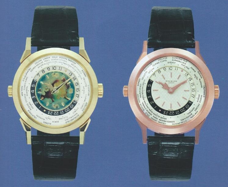 Deux modèles World Time vintage Patek Philippe, les 2523 HU et 2523-1 HU Crédit photo: Magazine Patek Philippe