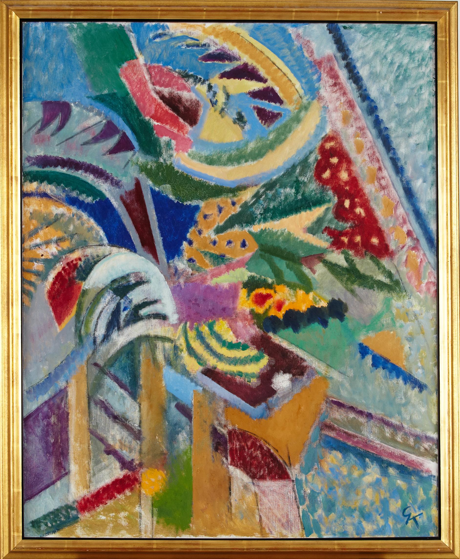 Greta Knutson-Tzara (1899-1983), komposition, monogramsignerad GK, olja på duk. Såldes hos Stockholms Auktionsverk 2014 för 12 500 kronor. Bild Stockholm Auktionsverk