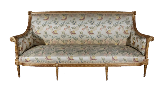 Galerie Gilles Linossier Estampillé Georges Jacob, marque du Château de Chanteloup, Canapé en bois doré, Époque Louis XVI, Hauteur : 100 cm ; Largeur : 214 cm ; Profondeur : 75 cm