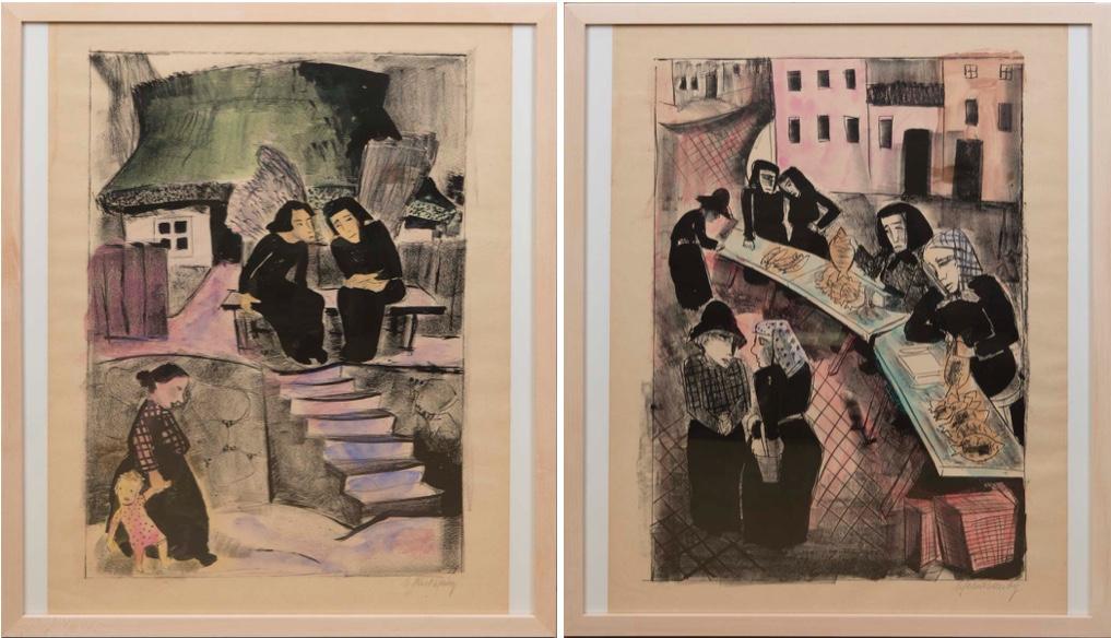 MARTEL SCHWICHTENBERG (1896 Hannover-1945 Salzburg) Links: Vor dem Katen, aquarellierte Lithographie, um 1923 Rechts: Fischmarkt, aquarellierte Lithographie, um 1923