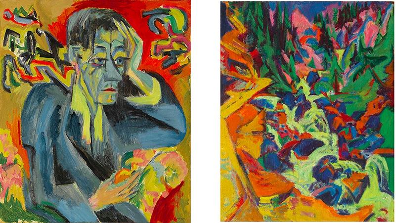 ERNST LUDWIG KIRCHNER (1880-1938) Links: Bildnis des Dichters Frank, 1917 Rechts: Der Wasserfall (recto); Mondaufgang auf Fehmarn (verso), 1919 bzw. 1914 | Beide Abb.: Christie's