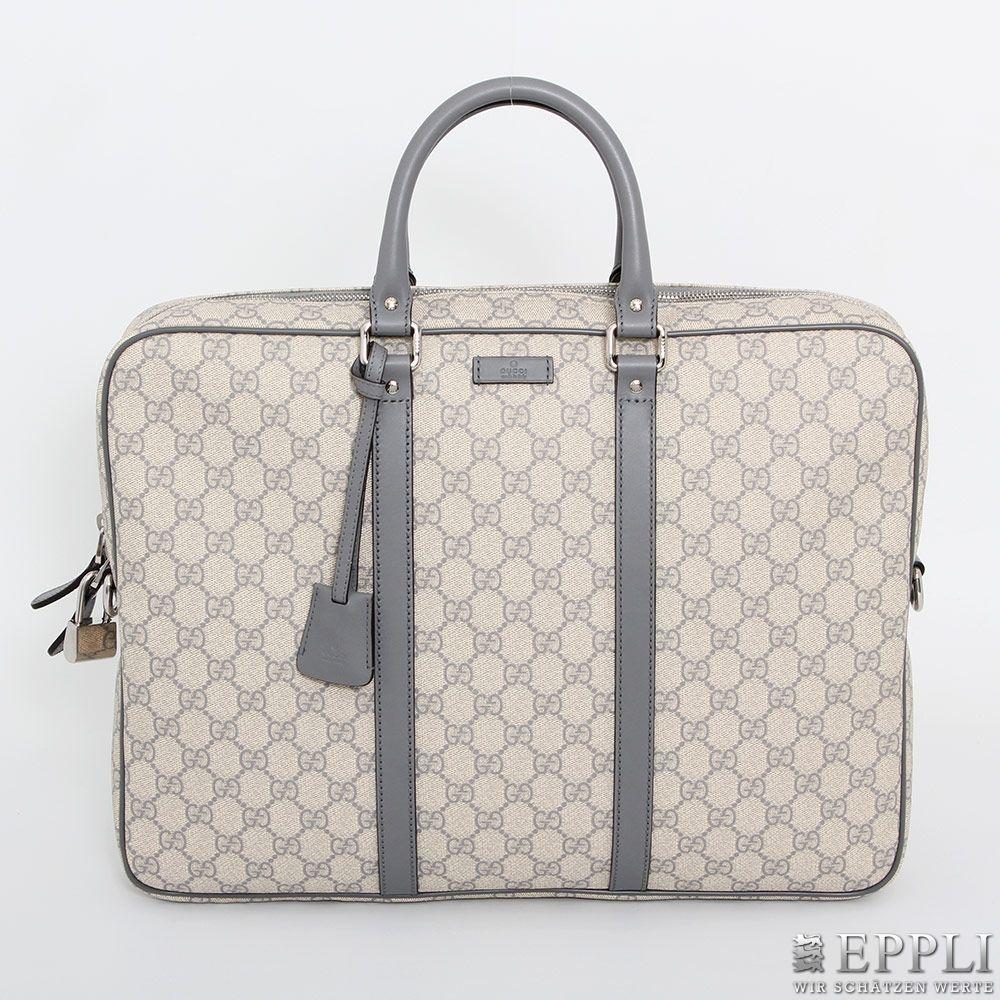 GUCCI - Aktuelle Aktentasche aus beschichtetem Textil, mit Lederverstärkungen Aufrufpreis: 480 EUR