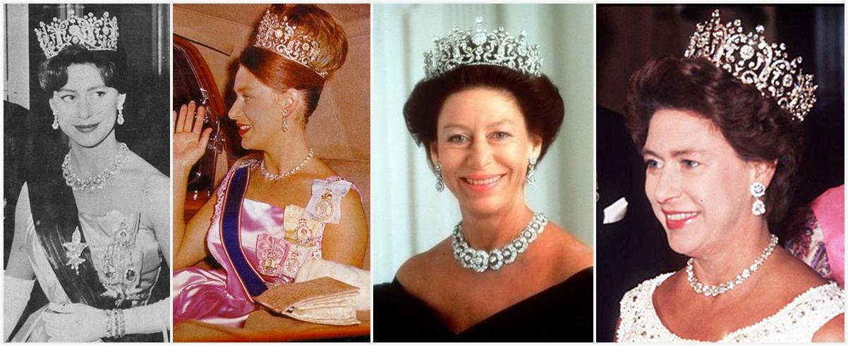 La Princesse Margaret affectionnait tout particulièrement cette tiare et posa coiffée de ce superbe bijou pour de nombreux portraits officiels