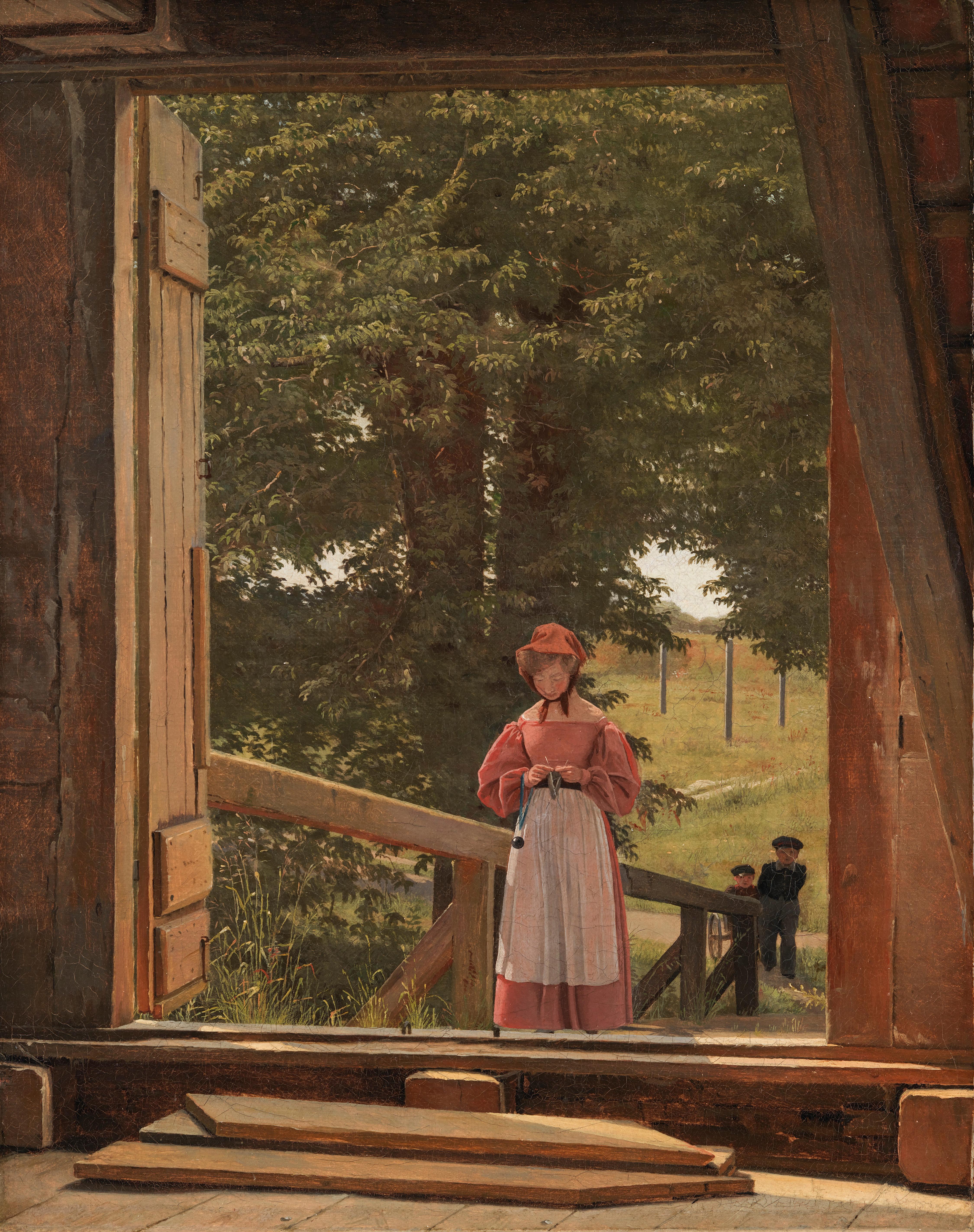 """Christen Købke, """"Utsikt från loftet på kornmagasinet vid bageriet i Kastellet, Köpenhamn"""", 1831. Olja på duk. SMK, Statens Museum for Kunst."""