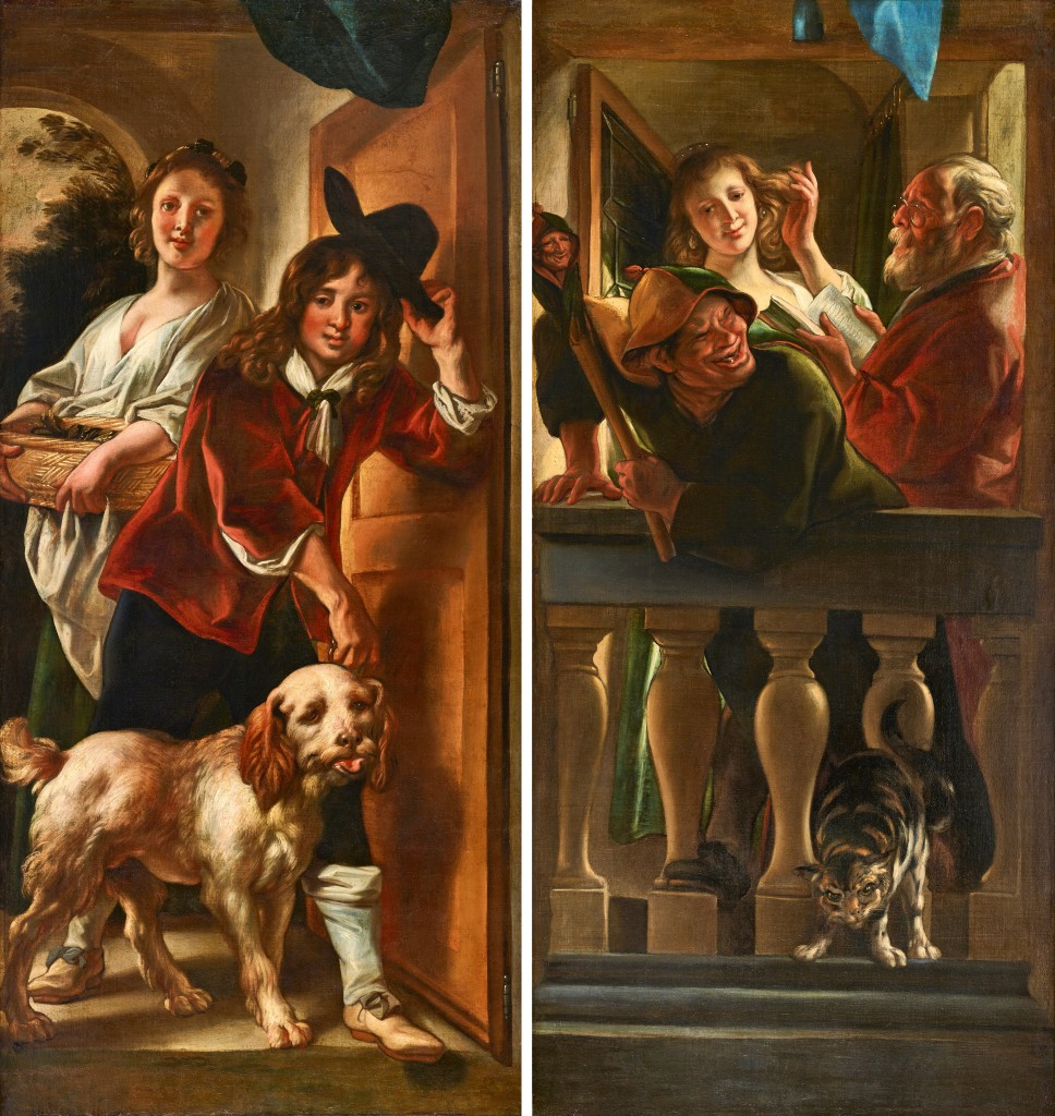 JACOB JORDAENS (1593 Antwerpen 1678) - Paar Gemälde mit Trompe l'oeil-Elementen, Öl/Lwd.