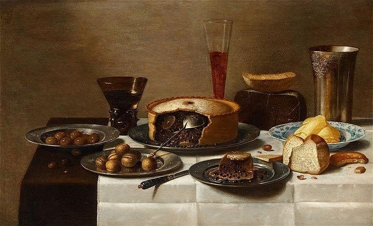 FLORIS VAN SCHOOTEN (vers 1590 - après 1655 Haarlem) - Nature morte avec du chocolat, du pain, des noix et des vases, huile sur bois, 51 x 83,5 cm, monogramme Estimation: 100 000-120 000 EUR