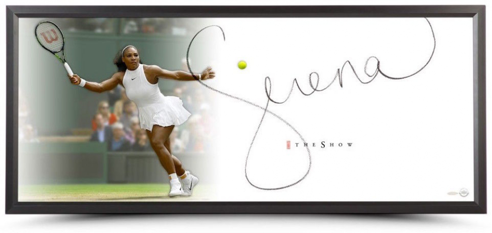 """Serena Williams Signed """"forehand"""" photo,framed. Photo: Pristine Auctions."""