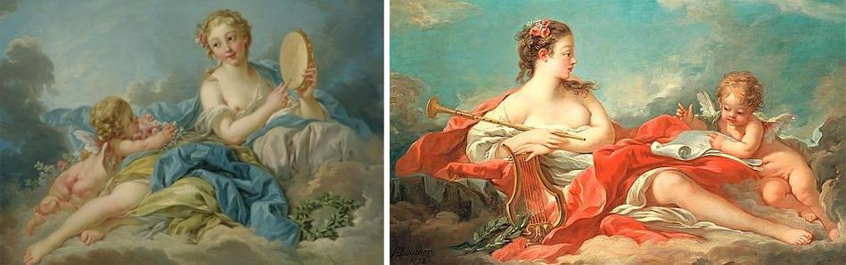 François Boucher - Clio, la muse de l'Histoire et de la Chanson; et Erato, la muse de la poésie d'amour Adjugé 1,38 millions d'euros chez Christie's à Londres le 6 juillet 2005