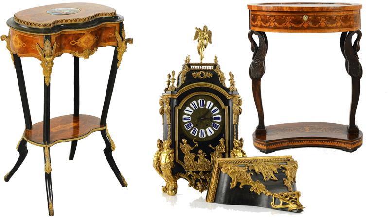 Nr 12, Blombord 1800-tal. Utrop: 3.000 kronor. Nr 28. Bordspendyl & konsol 1800-tal, Frankrike. Utrop: 8.000-10.000 kronor Nr 36. Sybord, 1800-tal, empire. Utrop: 2.000 kronor.