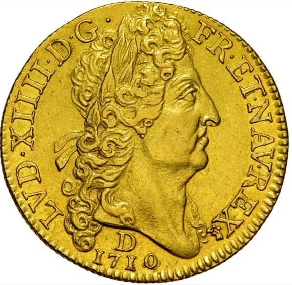 Double louis d or au soleil 1710 Lyon