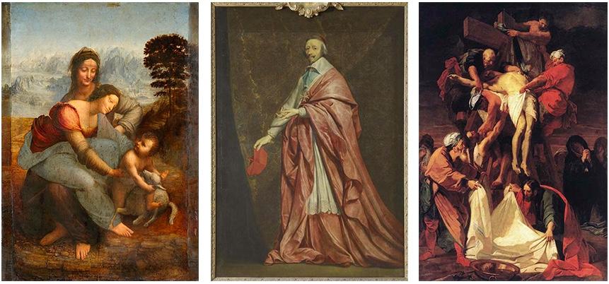 Links: Leonardo da Vinci, Anna Selbdritt, ca. 1510-13 | Abb. via Wikipedia Mitte: Philippe de Champaigne, Le Cardinal de Richelieu, ca. 1635 | Abb. via culture.gouv.fr Rechts: Jean Jouvenet, Kreuzabnahme, 1697 | Abb. via Wikipedia