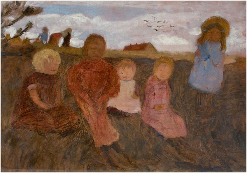 """PAULA MODERSOHN-BECKER (1876 Dresden - 1907 Worpswede) - """"Fünf Kinder an einem Hang, rechts Elsbeth"""", tempera på papp, 48,5 x 69 cm. På baksidan: äkthetsintyg från konstnärens dotter, daterat 1902. Utropspris: 2,8 - 3,7 miljoner kronor."""