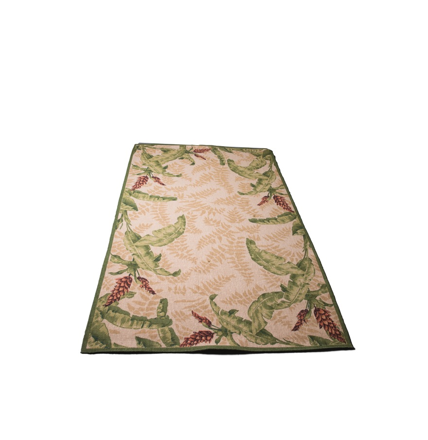 Green tropical leaf print rug with purple bloomsEverything But The House