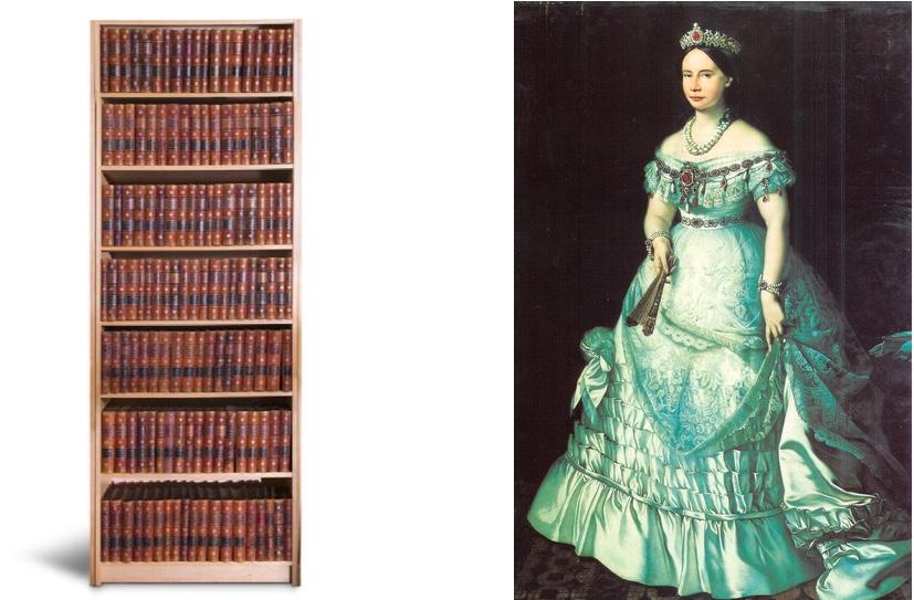 Links: Sophienausgabe der Werke Goethes in 143 Bänden, Weimar 1889-1918 | Rechts: Großherzogin Sophie von Sachsen-Weimar-Eisenach, Portrait von Charles Verlat (1870)