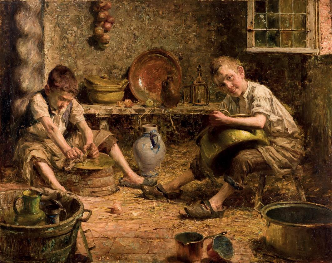 PIERRE JACQUES DIERCKX (1855-1947) - Los ayudantes de cocina, Öl/Lwd., signiert