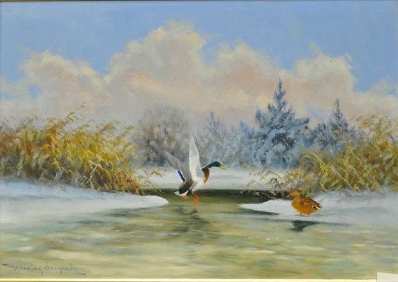 Henning Hougaard 1922-1995, sjöfåglar vid isflak, oljemålning duk, signerad, 63x43. Utrop: 800 SEK. Västra Auktionsverket