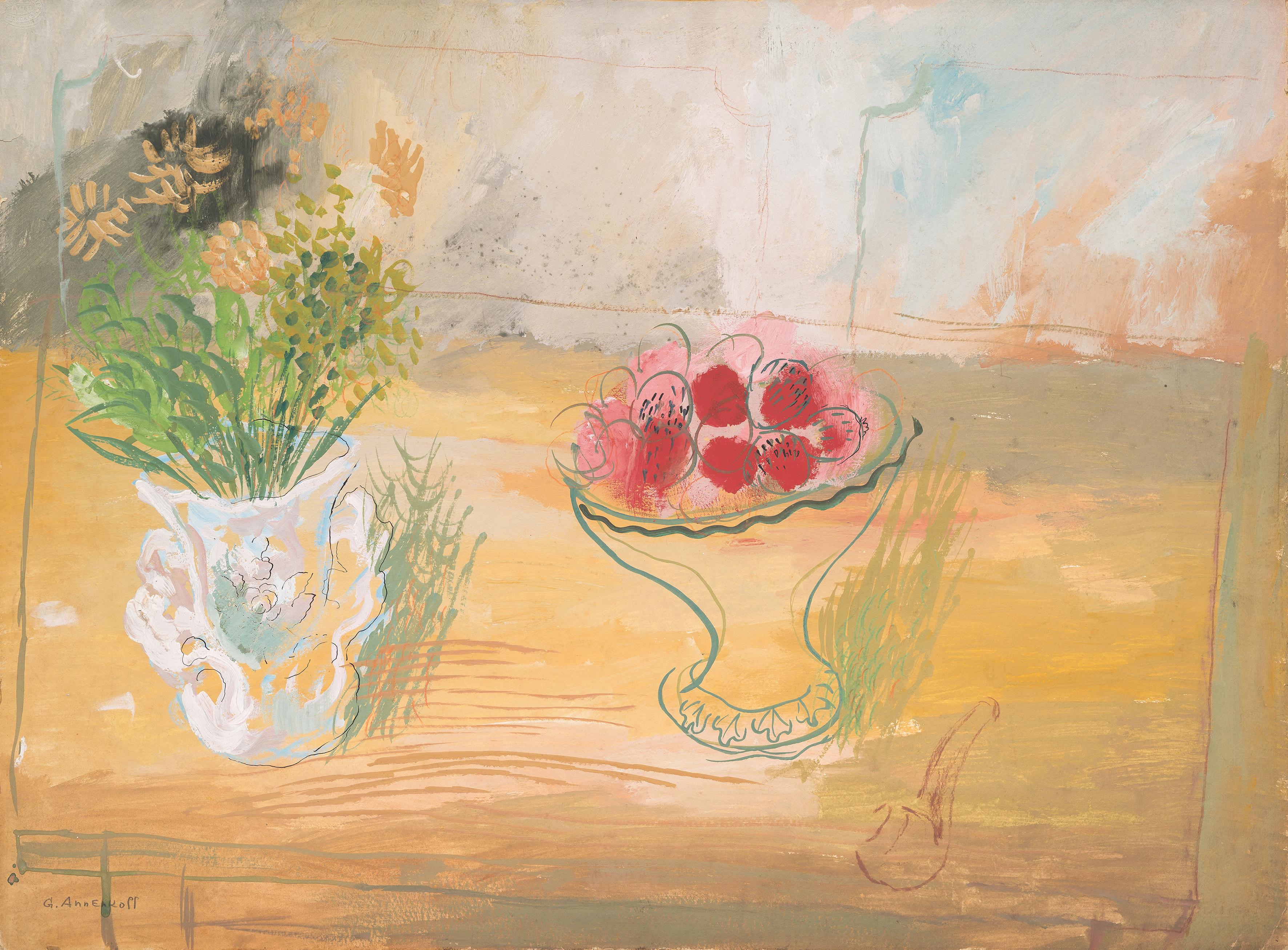 Still Life, Yuri Annenkov. 1930, gouache on paper. Image: Tessier
