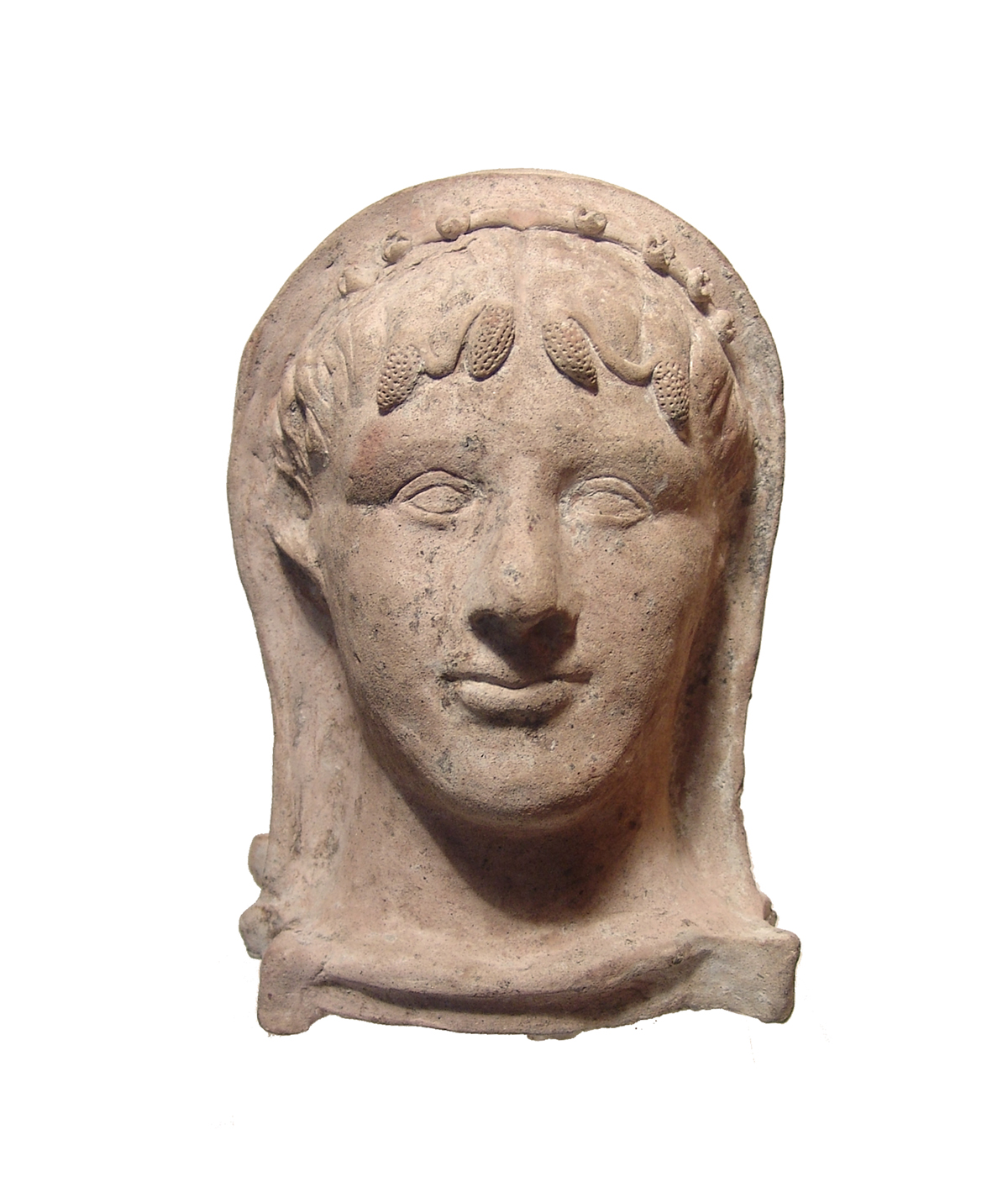 Marvelous and intact Etruscan terracotta head of a man from the 3rd century BC, 10 inches tall and with features that are wonderfully modeled in high relief (est. $5,000-$7,000).